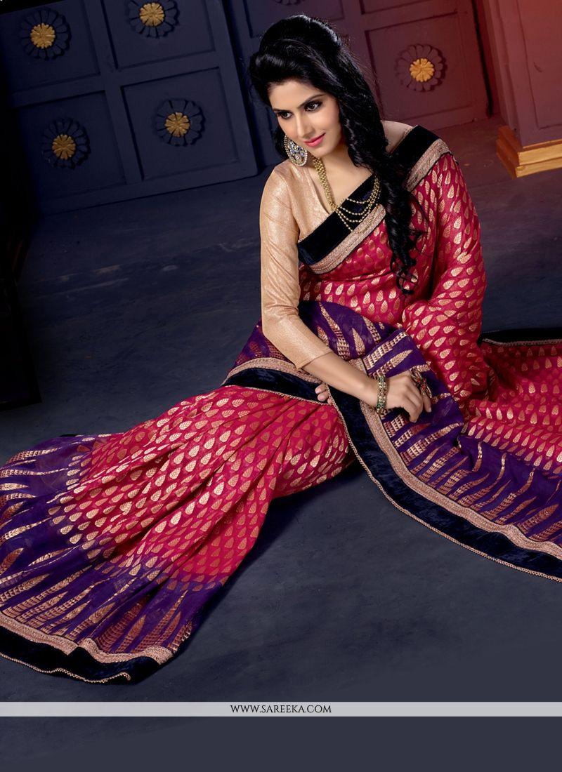 Pink Viscose Designer Saree