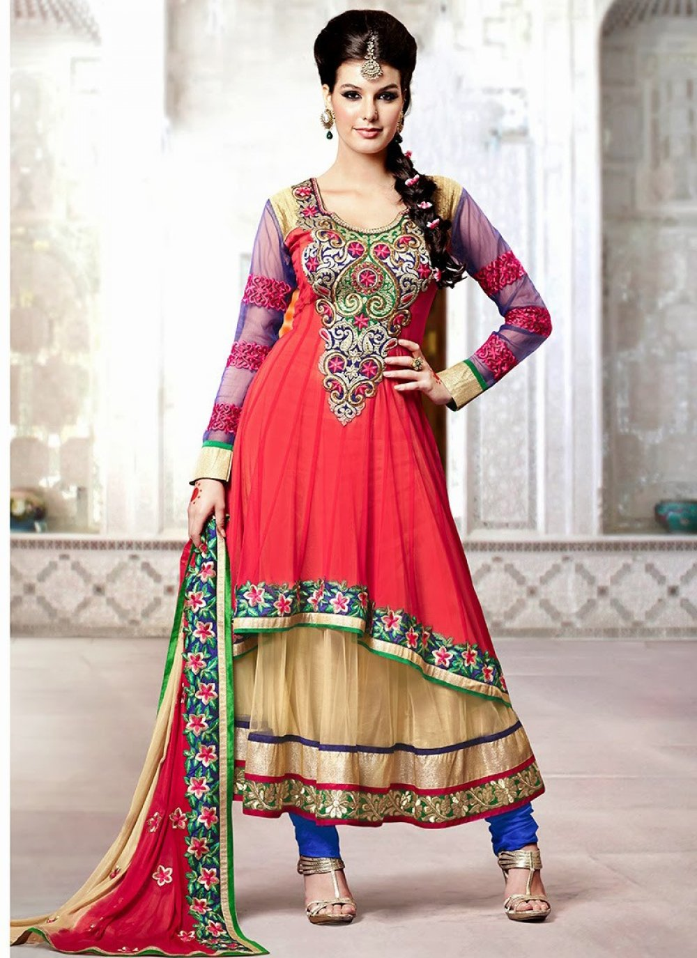 Red And Beige Kasab Work Anarkali Suit
