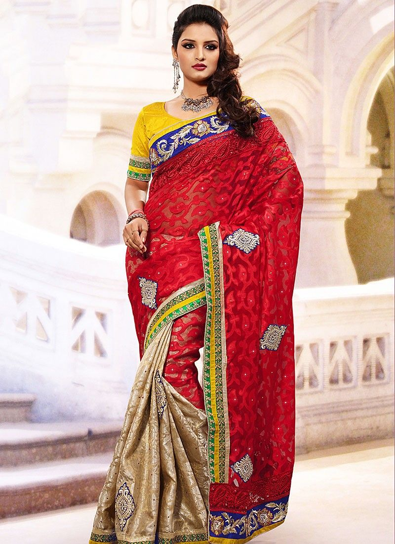 Red Net And Nylon Jacquard Saree