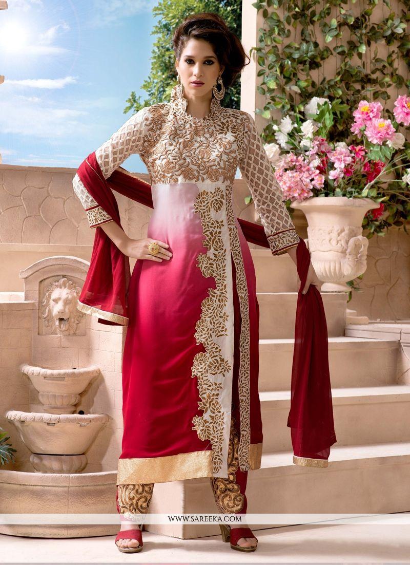 Red Zari Work Georgette Pant Style Suit