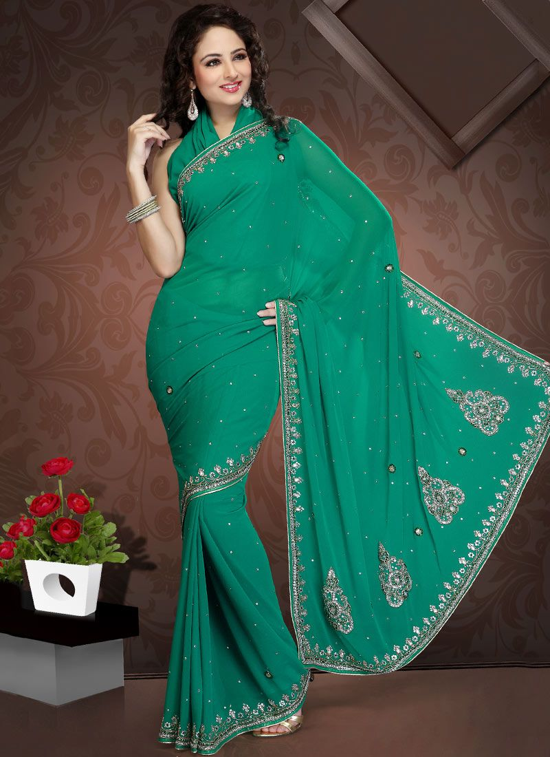 Sea Green Faux Georgette Saree