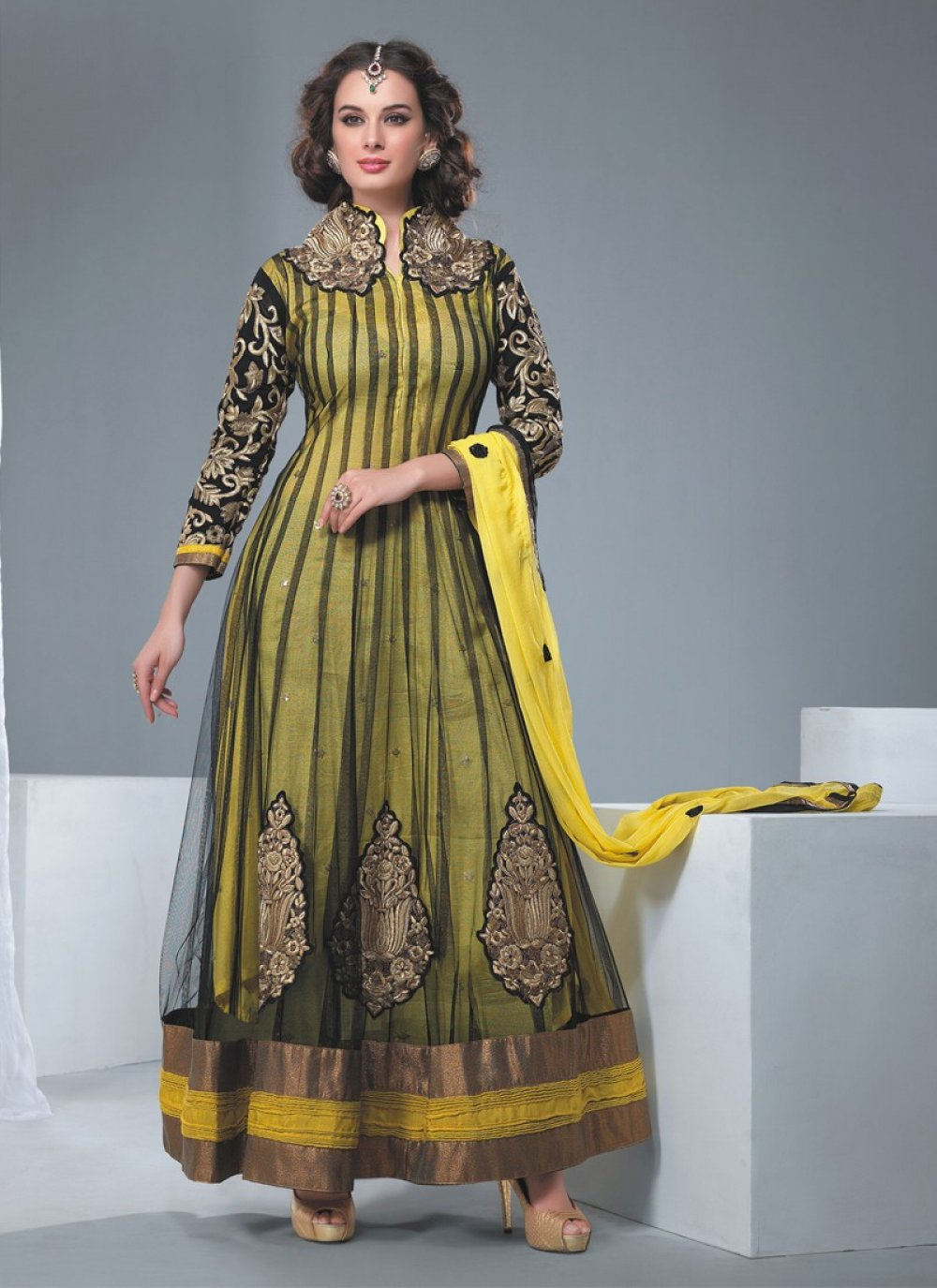 Yellow And Black Sequins Work Net Anarkali Suit