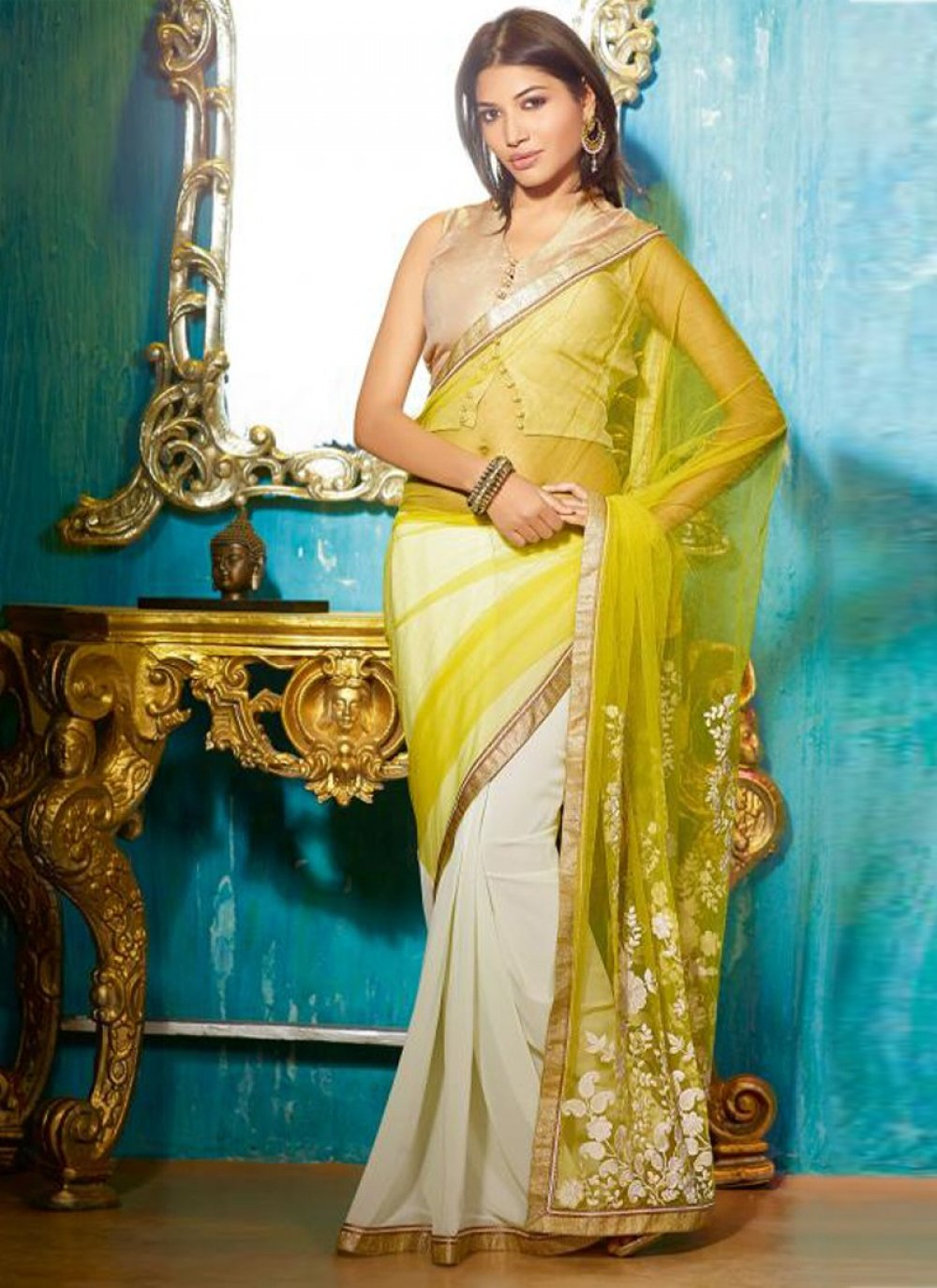 Yellow And Off White Net Georgette Saree