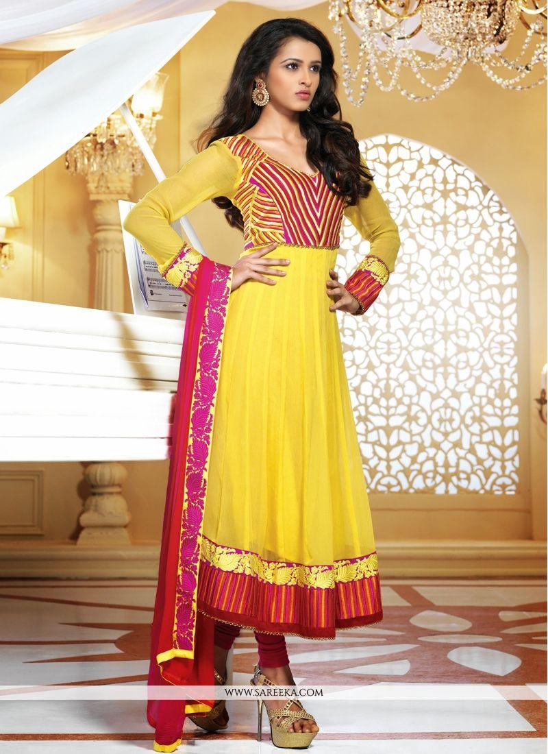 Yellow Faux Georgette Anarkali Salwar Suit