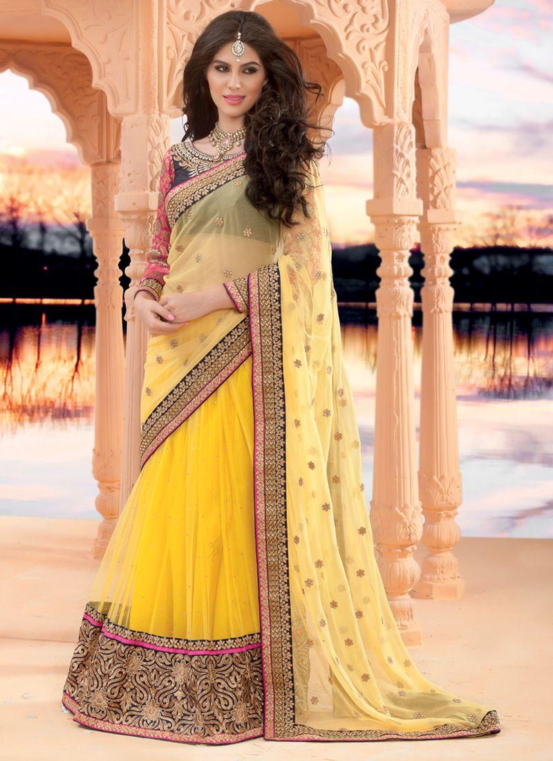 Yellow Net Lehenga Saree
