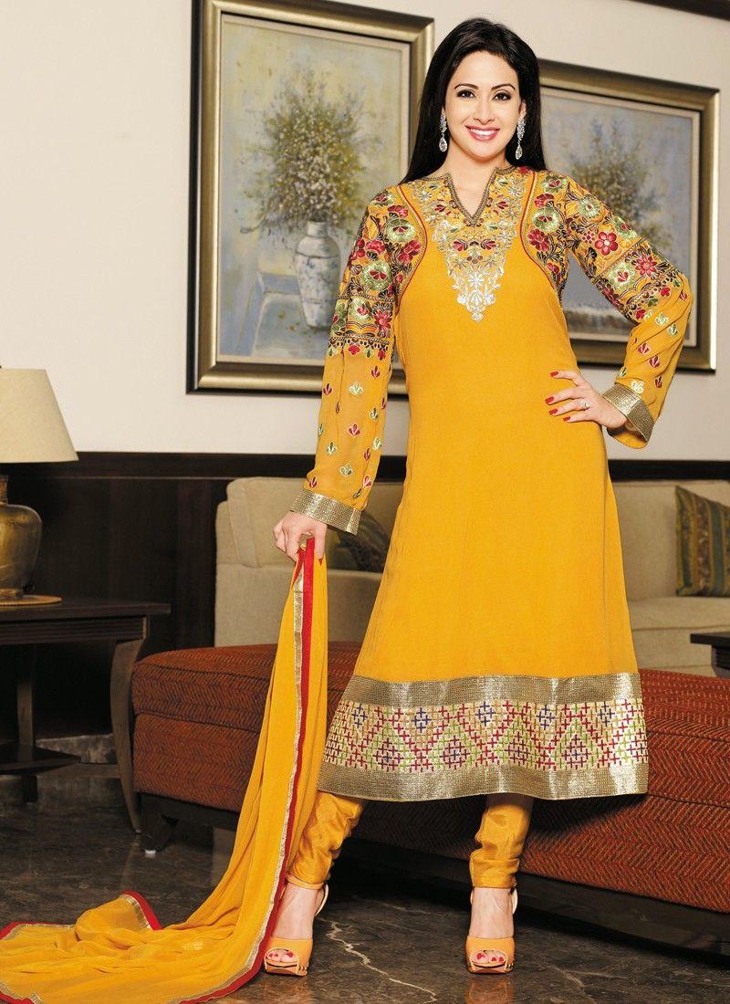 Yellow Resham Georgette Churidar Suit