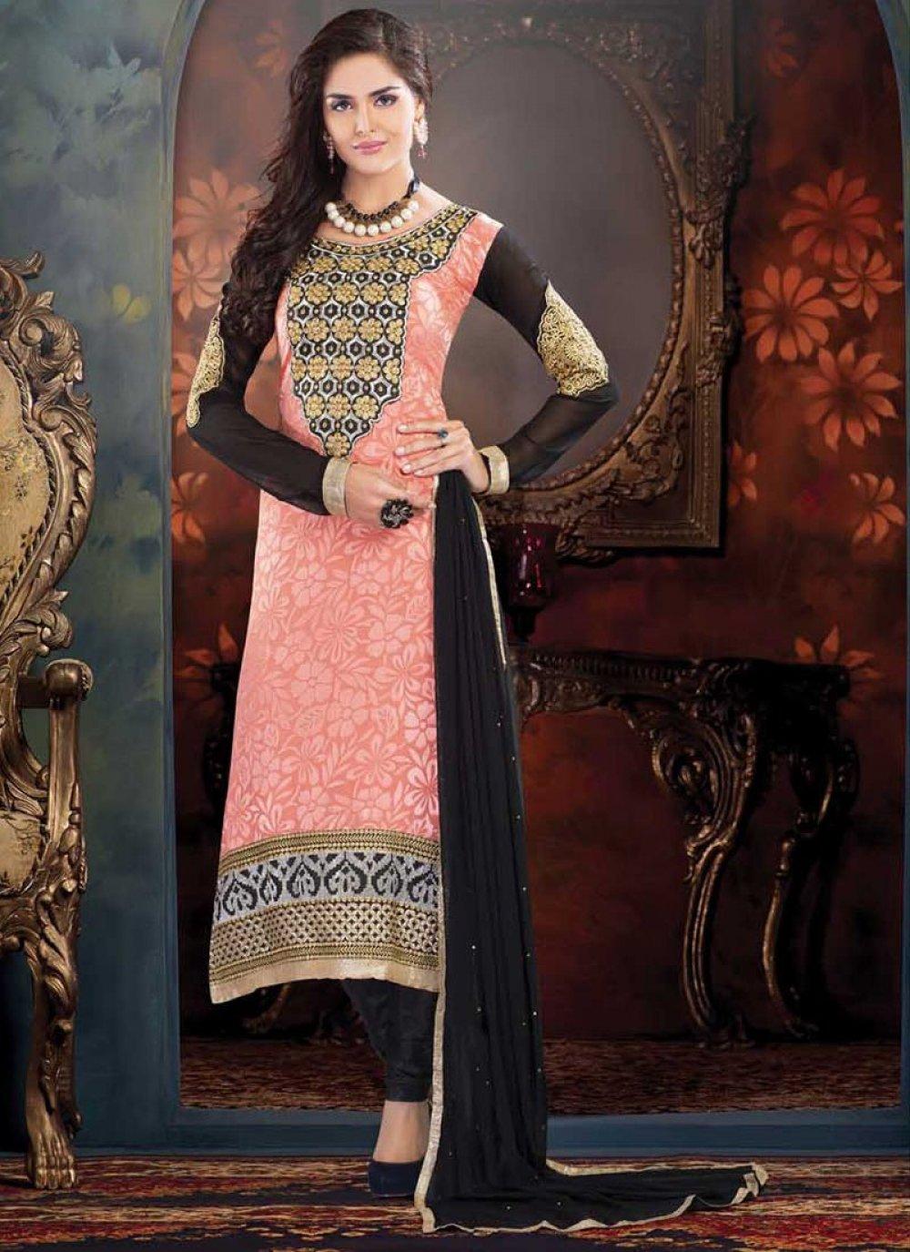 Awsome Peach Shaded Embroidered Work Churidar Suit