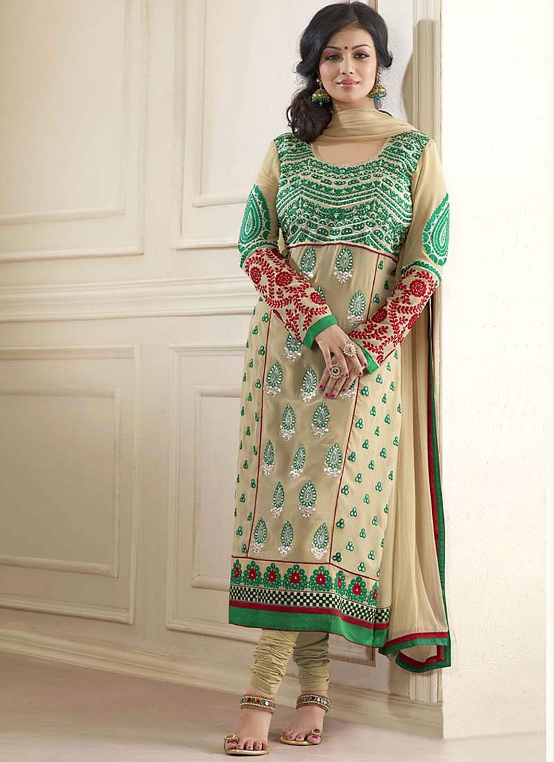 Ayesha takia beige embroidery work churidar suit