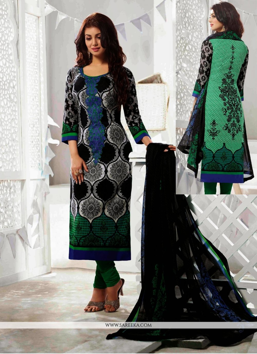 Ayesha Takia Black Cotton Churidar Suit