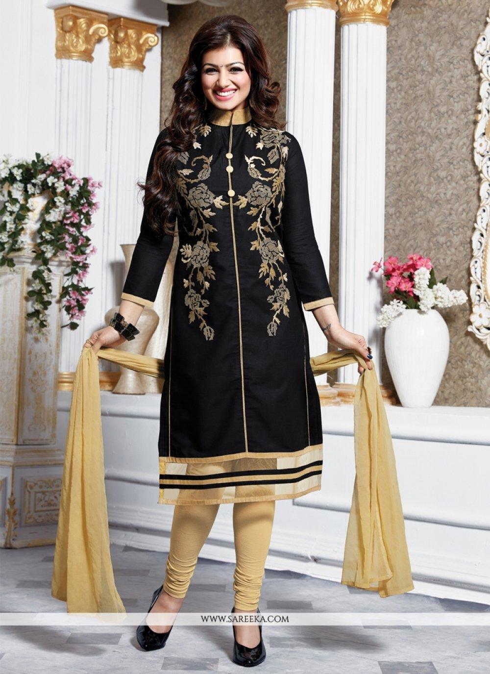 Ayesha Takia Black Embroidered Work Churidar Designer Suit