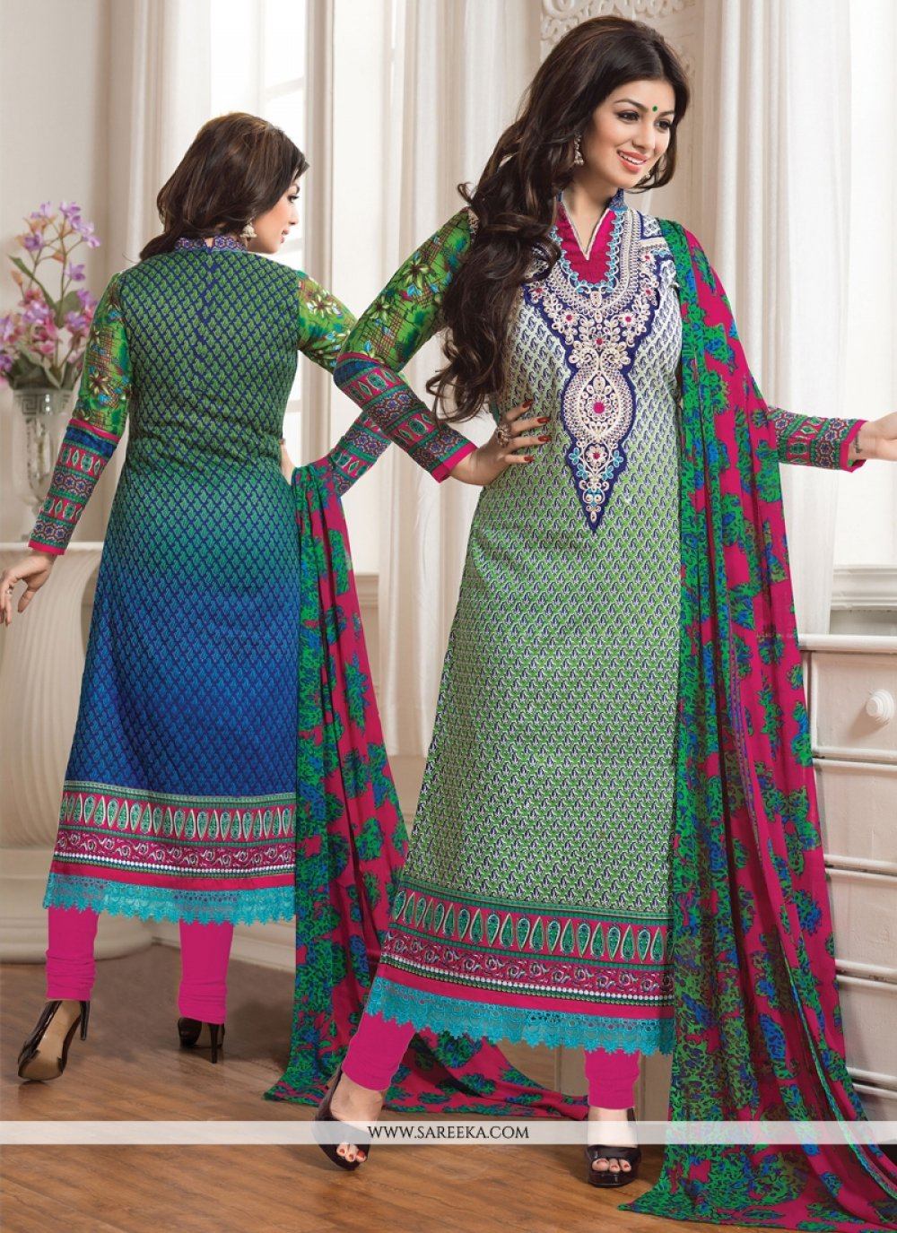 Ayesha Takia Blue And Green Pant Style Salwar Suit