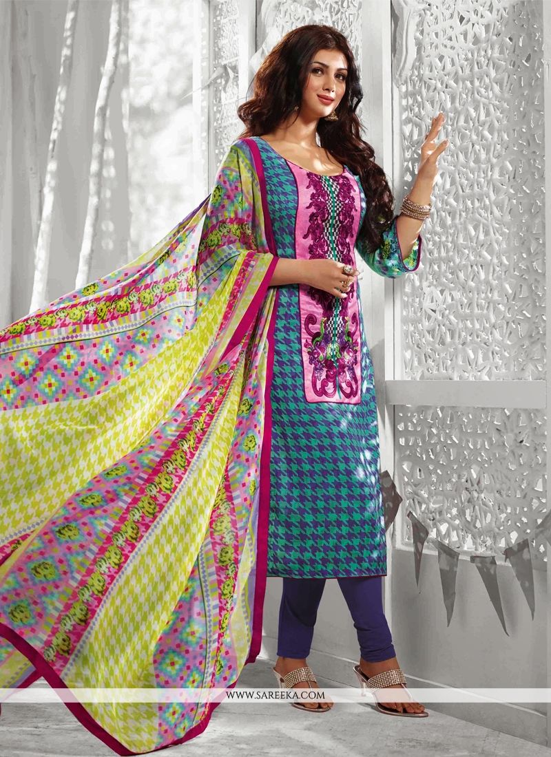Ayesha Takia Blue Cotton Churidar Suit