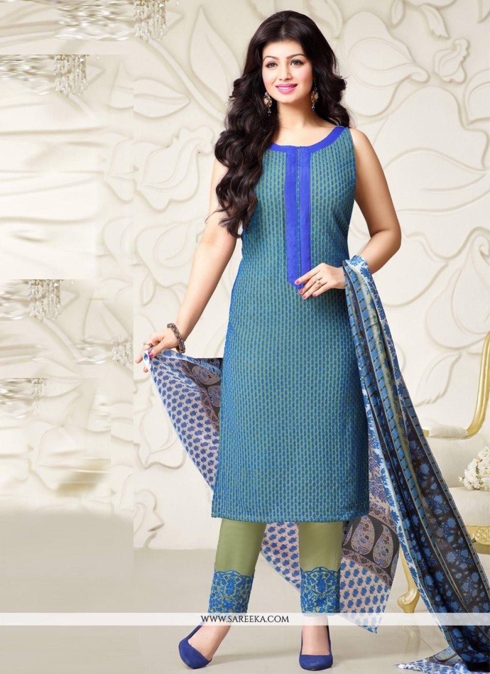 Ayesha Takia Blue Designer Straight Salwar Kameez