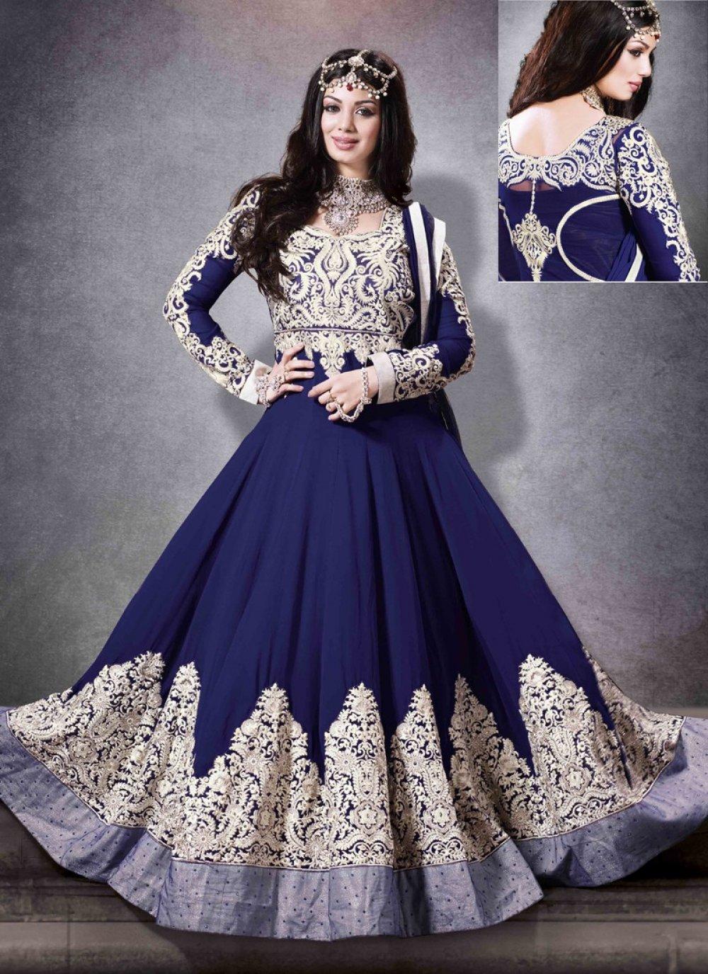 Ayesha Takia Blue Resham Work Georgette Anarkali Suit