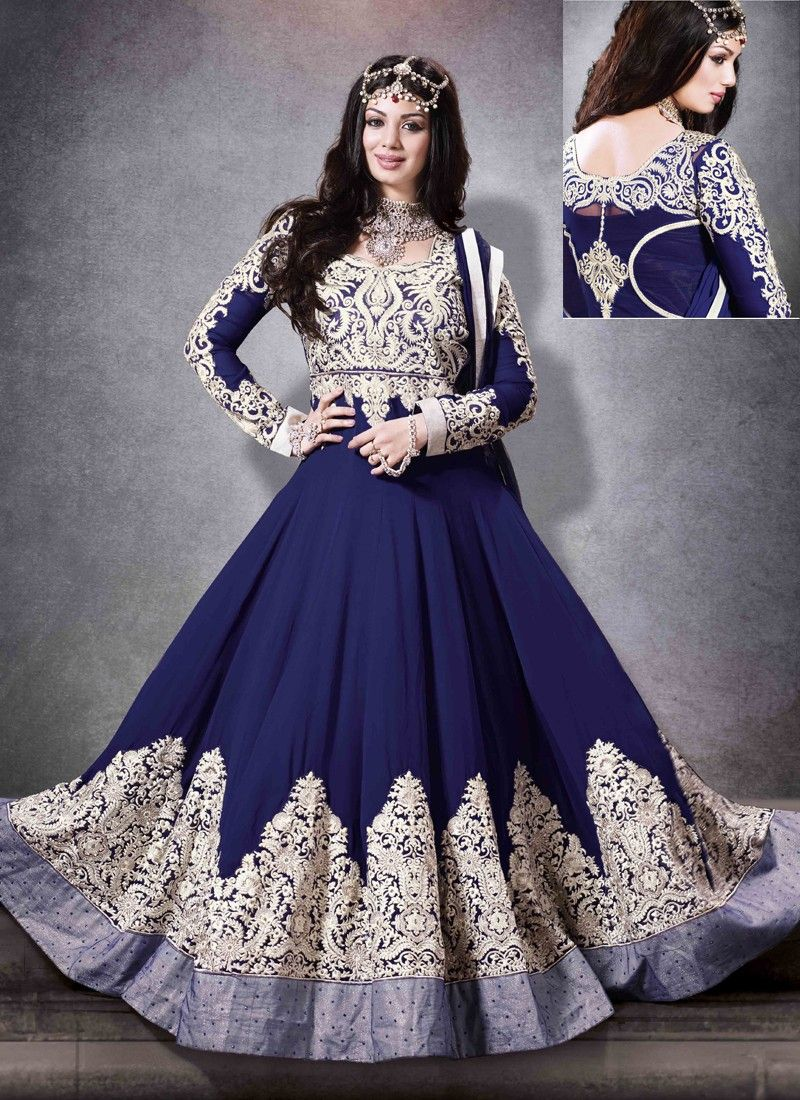 Ayesha Takia Blue Resham Work Georgette Anarkali Suit