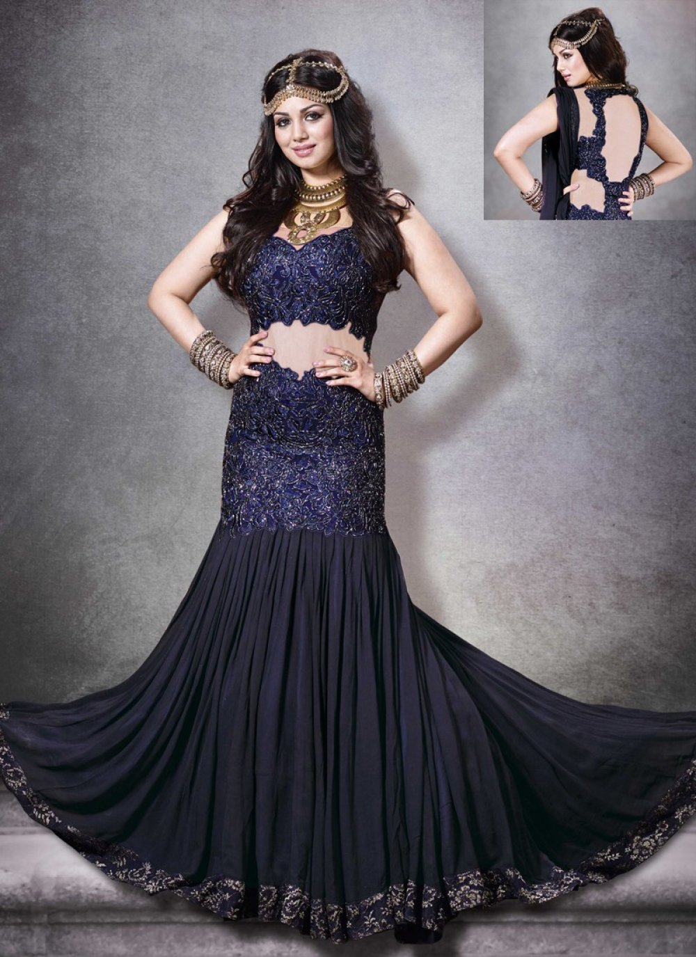 Ayesha Takia Blue Resham Work Net Anarkali Suit