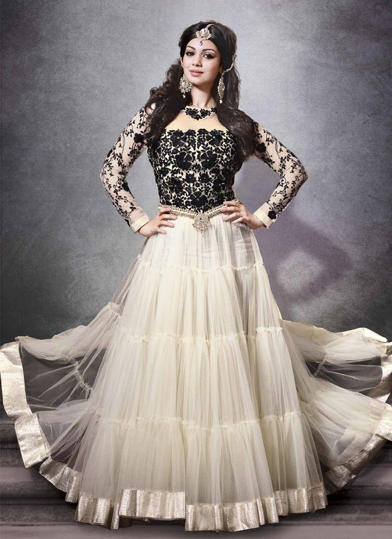 Ayesha Takia Cream And Black Resham Work Net Anarkali Salwar Suit