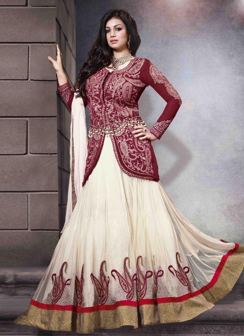 Ayesha Takia Cream And Maroon Embroidery Work Net Anarkali Suit