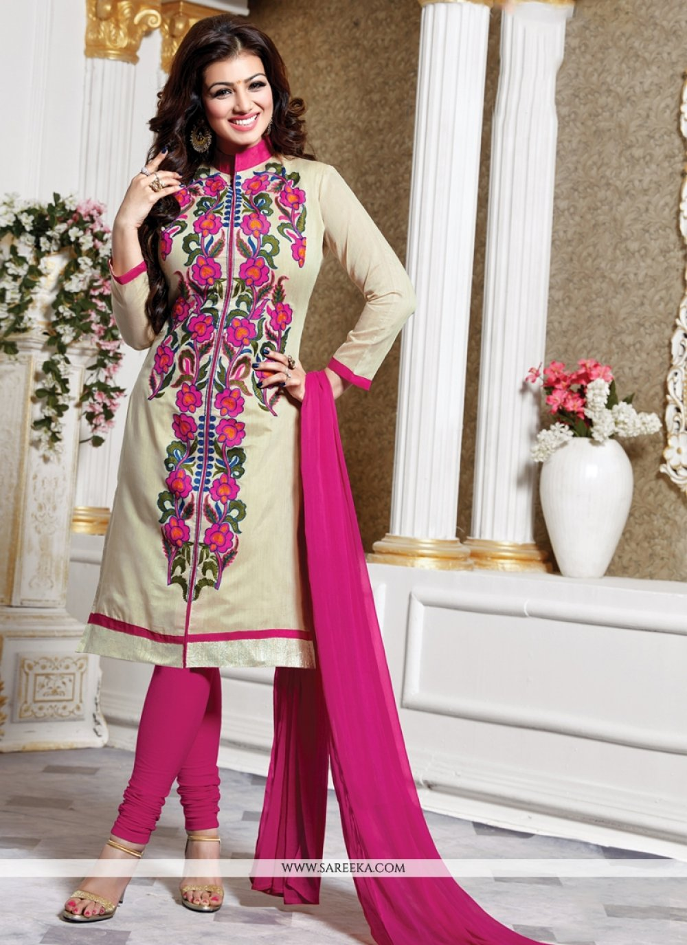 Ayesha Takia Cream Cotton   Churidar Designer Suit