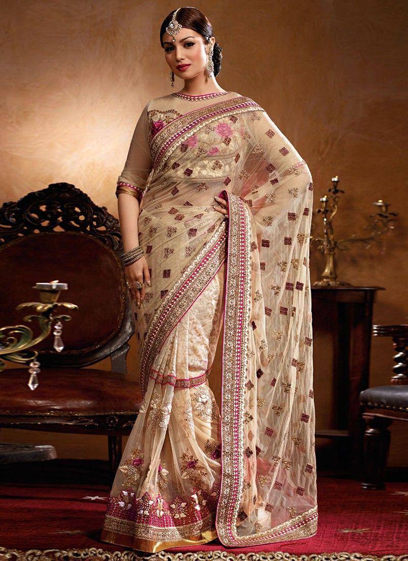 Ayesha Takia Cream Net Designer Saree