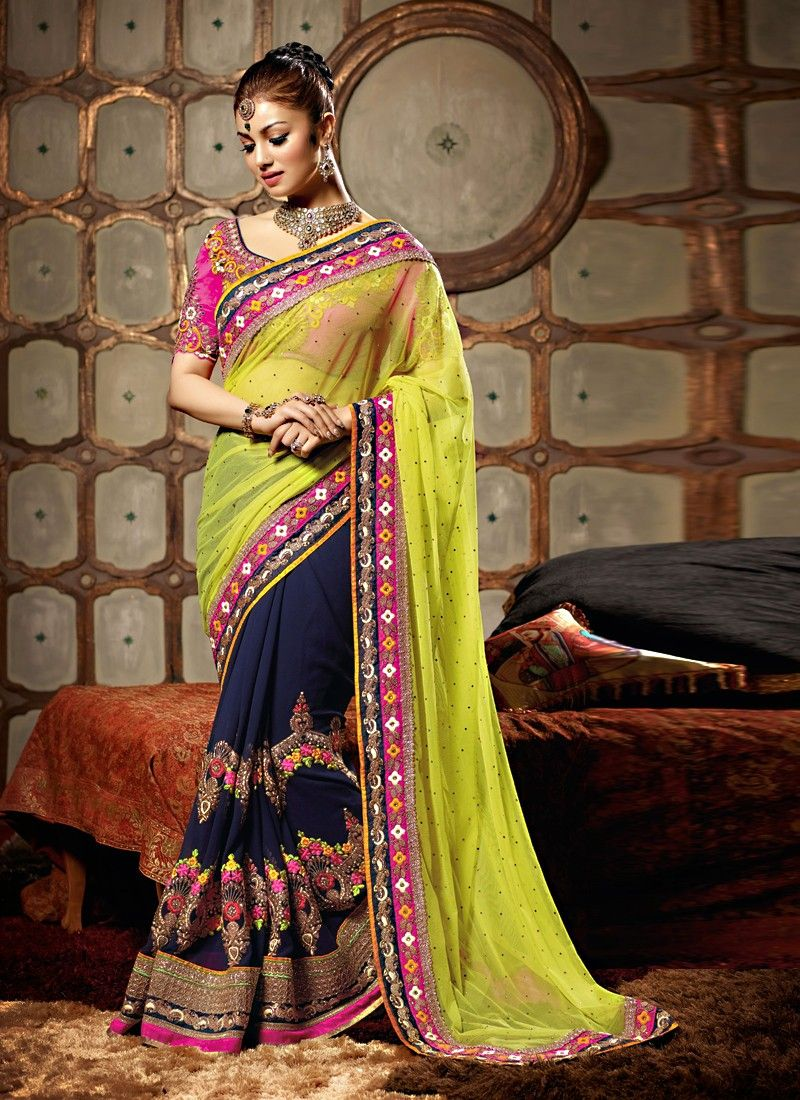 Ayesha Takia Green And Blue Resham Designer Saree