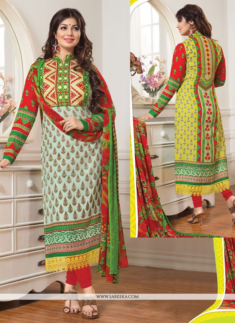 Ayesha Takia Green Cotton Churidar Salwar Suit