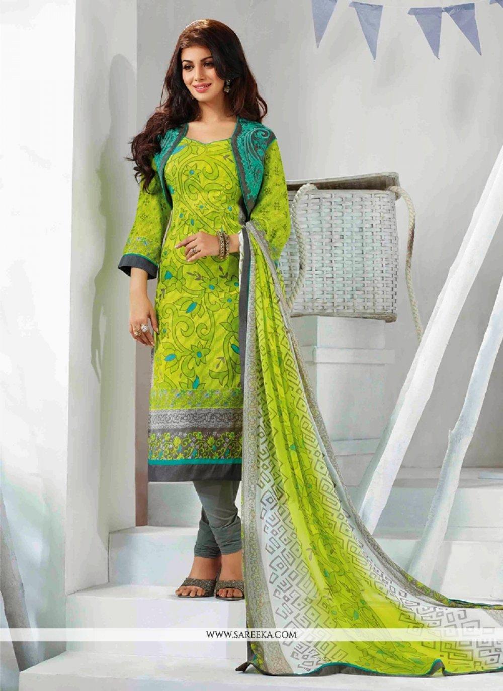 Ayesha Takia Green Resham Work Churidar Suit