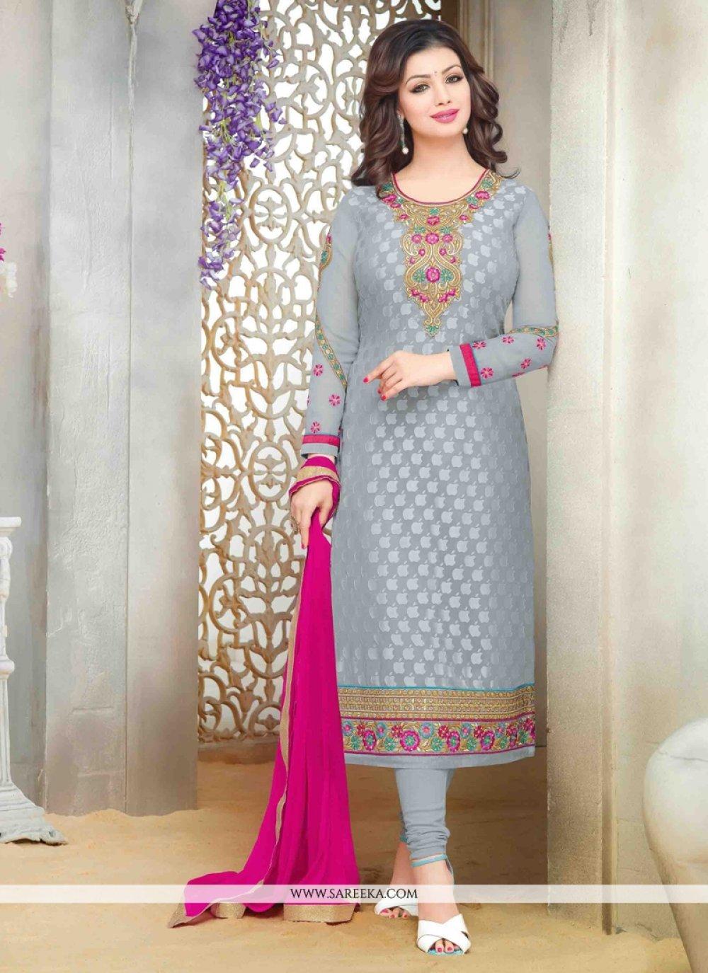 Ayesha Takia Lace Work Grey Designer Straight Suit
