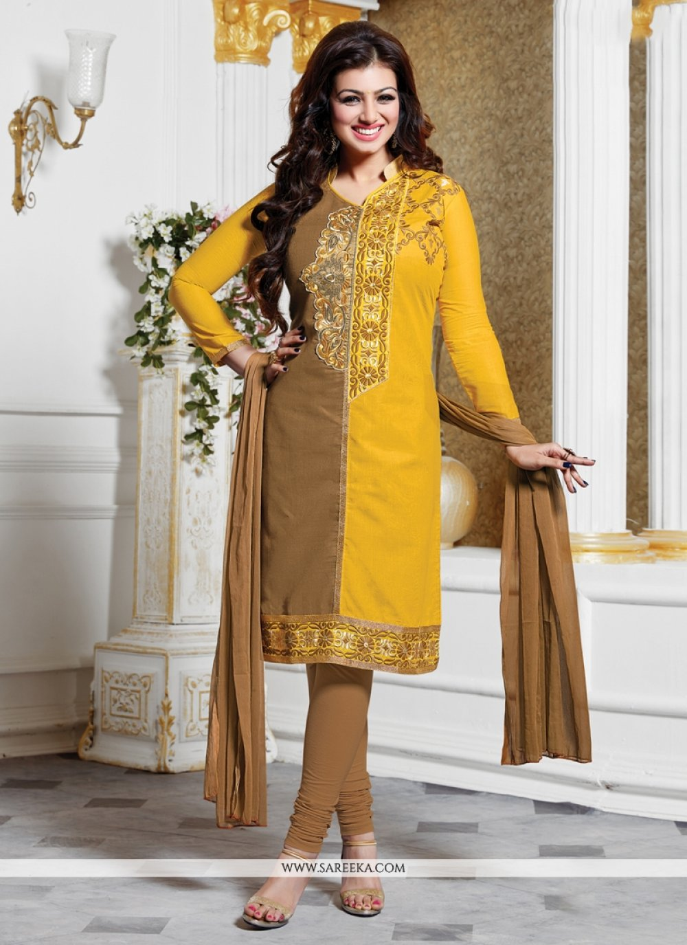 Ayesha Takia Lace Work Yellow Churidar Designer Suit