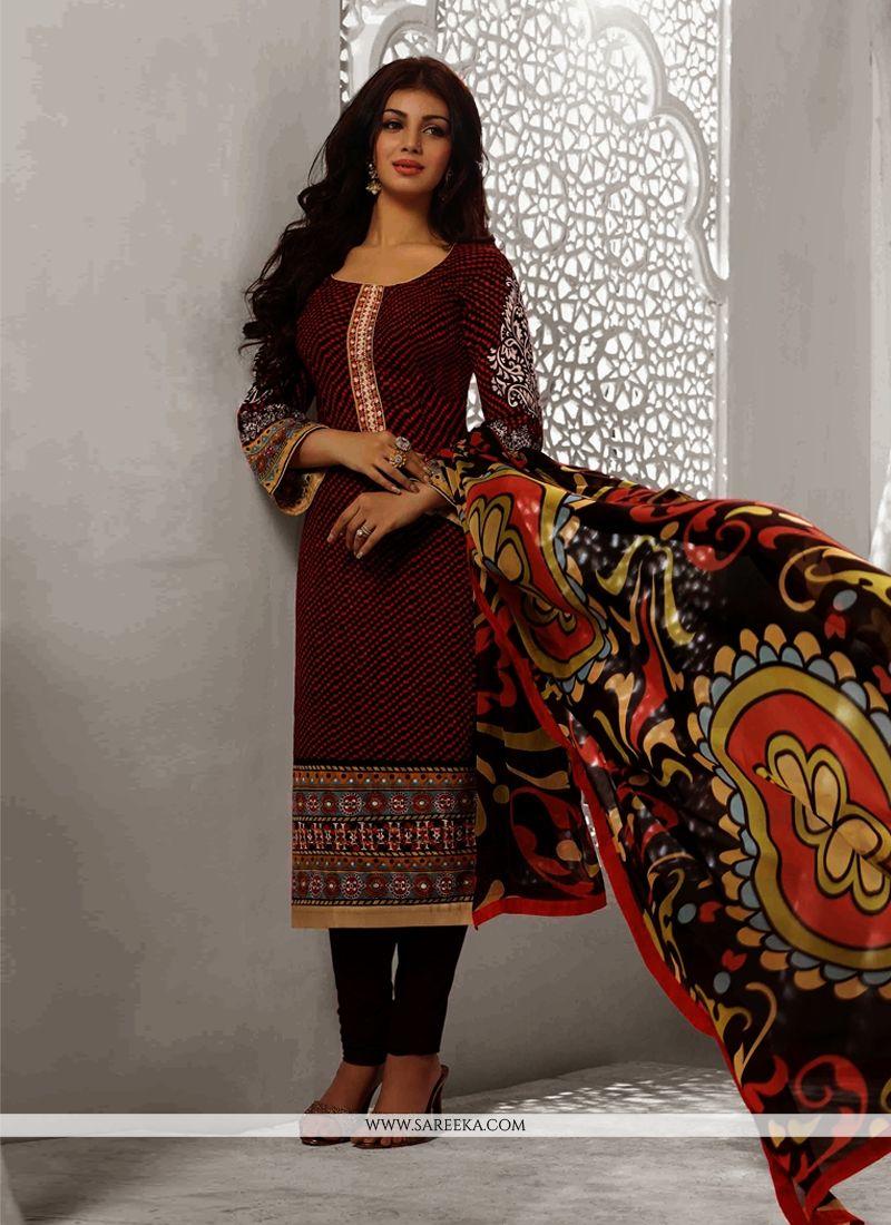 Ayesha Takia Maroon Cotton Churidar Suit