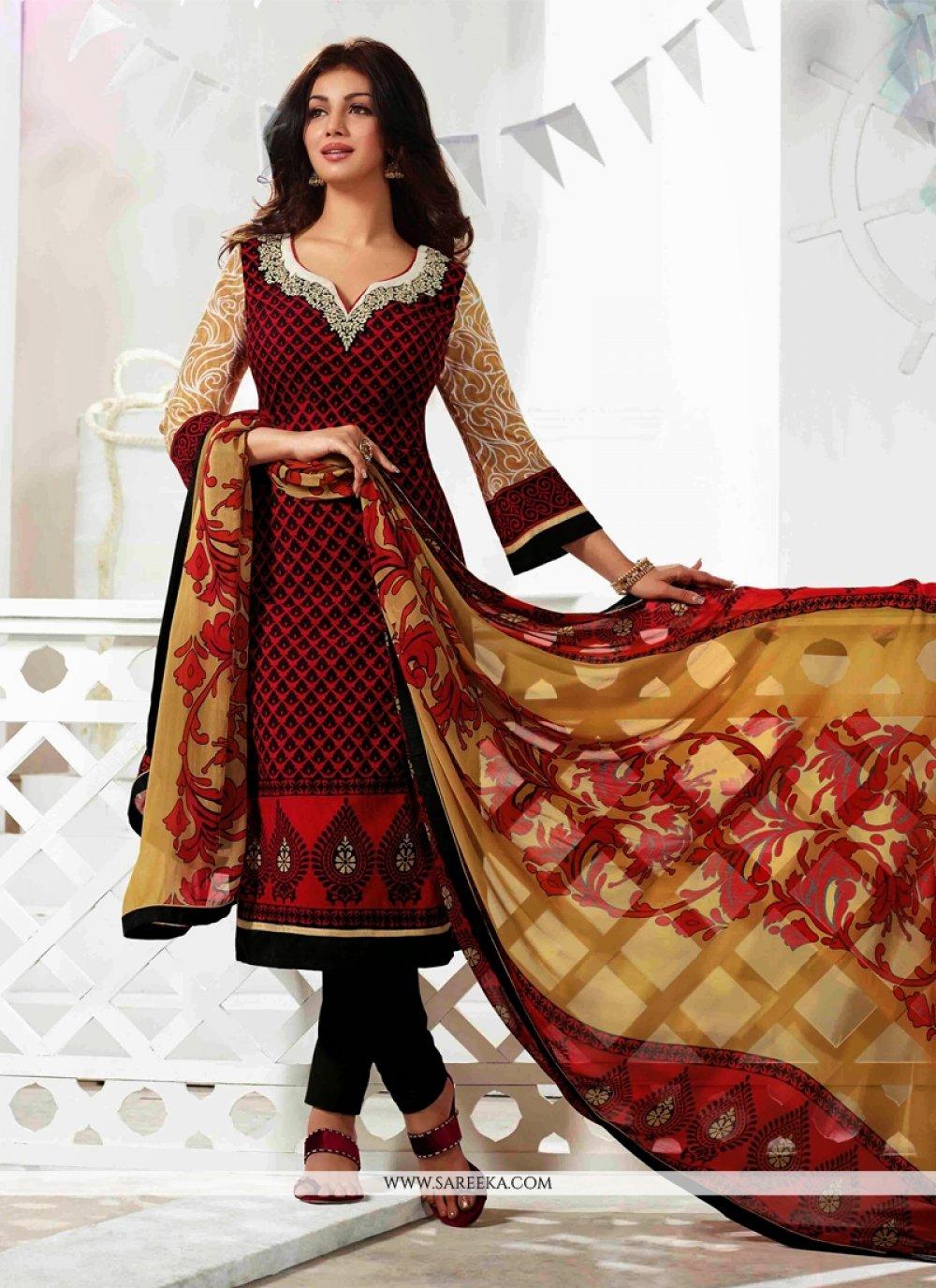Ayesha Takia Maroon Resham Work Churidar Suit