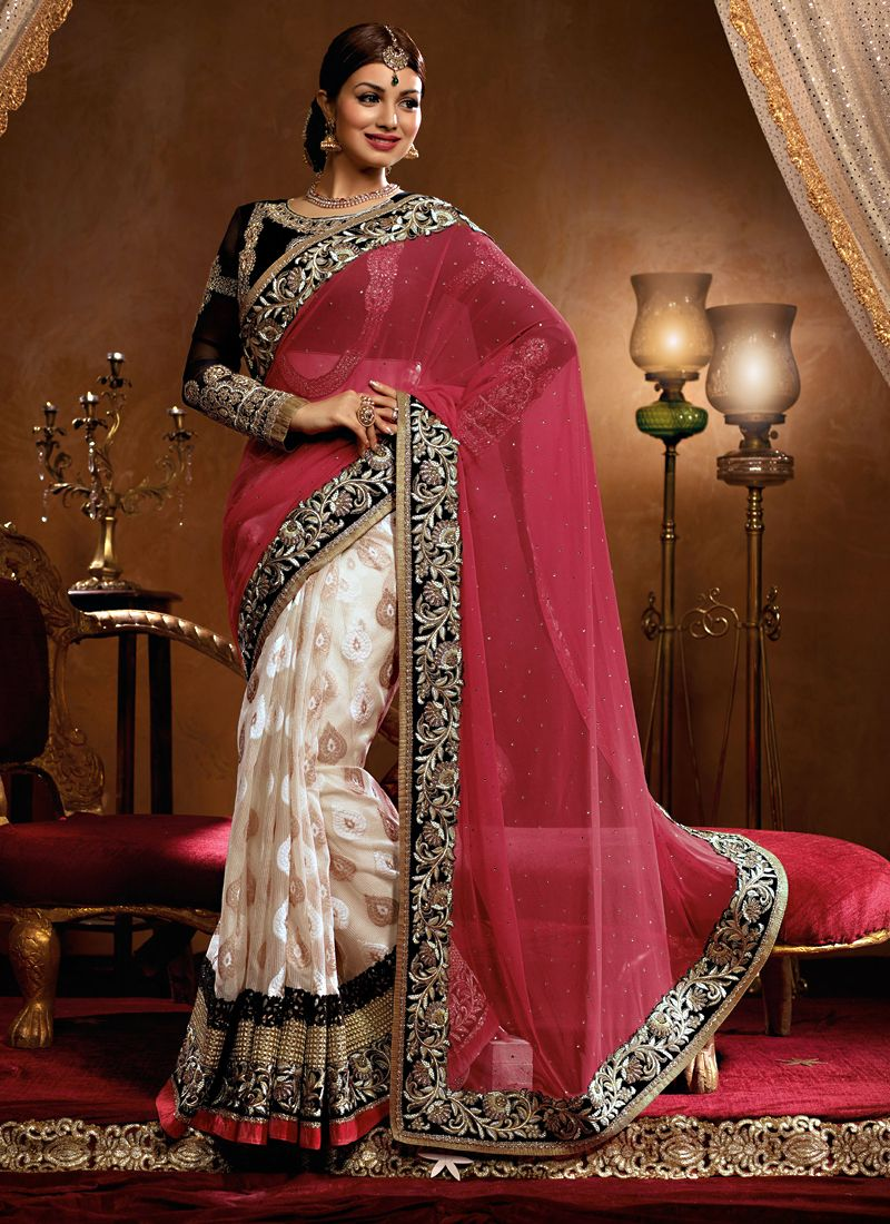 Ayesha Takia Off White And Pink Net Designer Saree