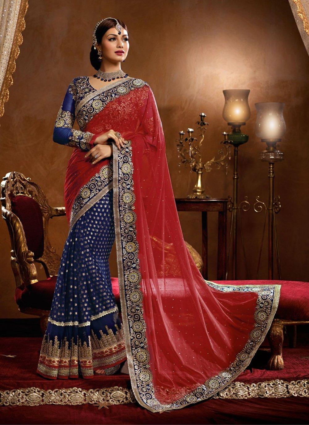 Ayesha Takia Red And Blue Viscose Wedding Saree
