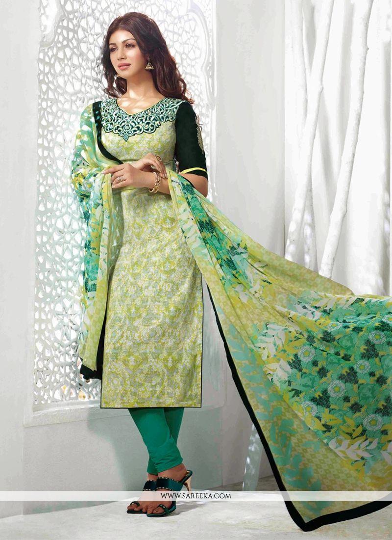 Ayesha Takia Sea Green Printed Churidar Suit
