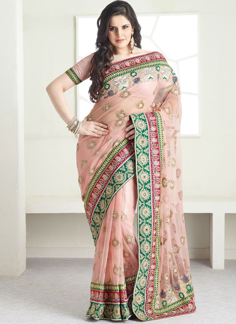 Baby Pink Embroidered Net Saree