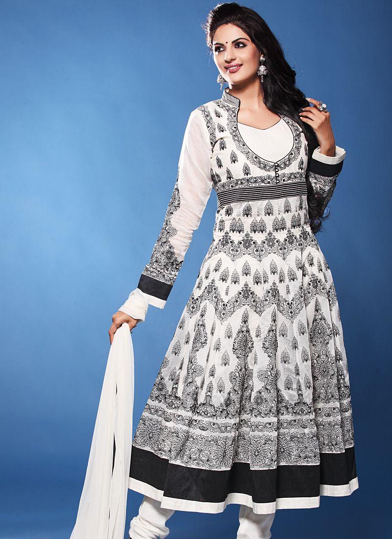 Black And White Resham Work Anarkali Suit