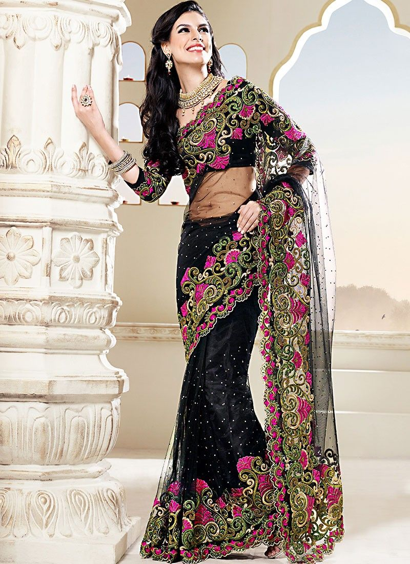 Black Embroidered Net Designer Saree
