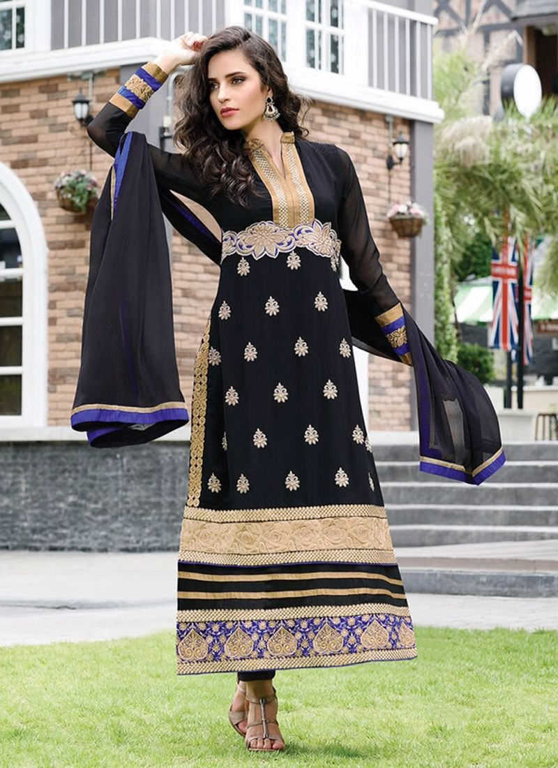 Black Embroidery Churidar Salwar Suit