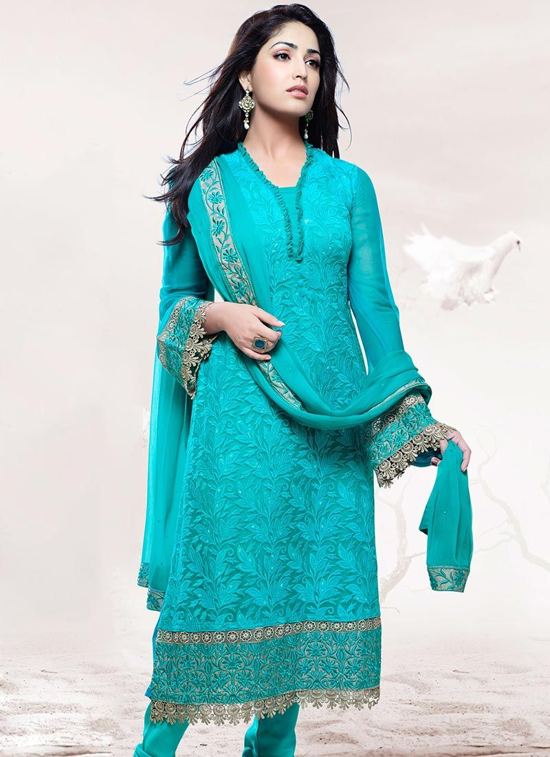 Blue Cutdana Work Stylish Churidar Suit