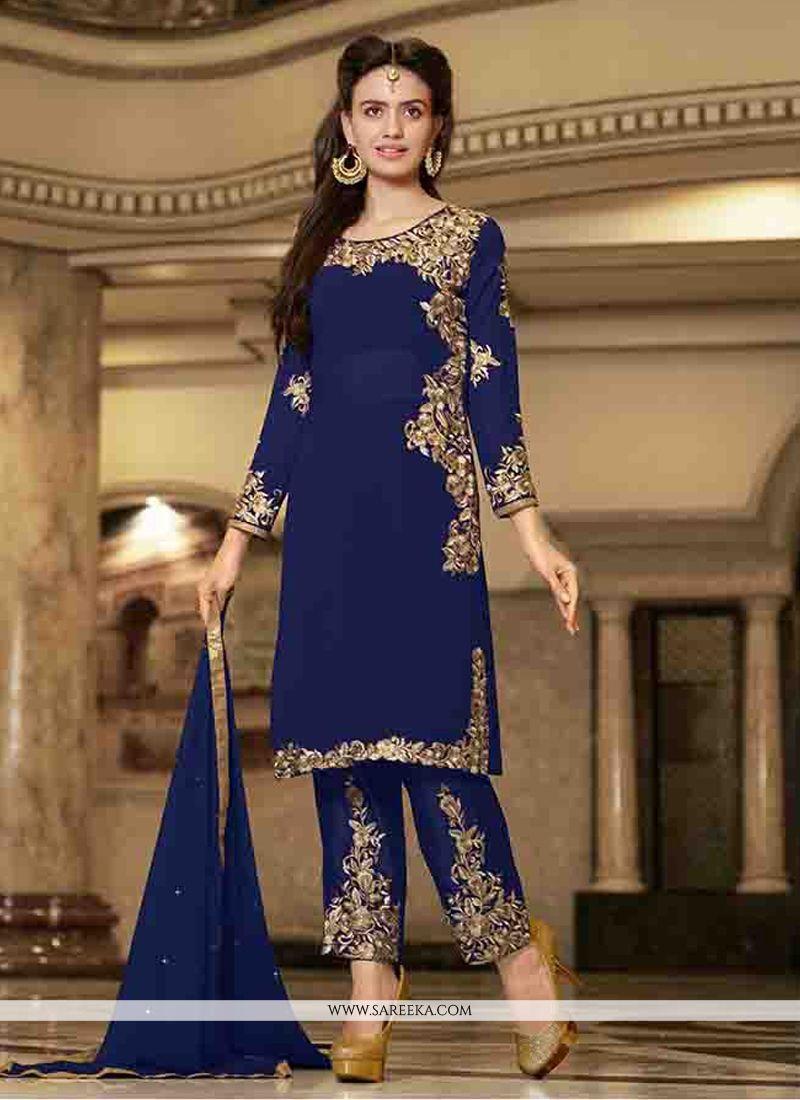 Blue Zari Work Designer Straight Suit