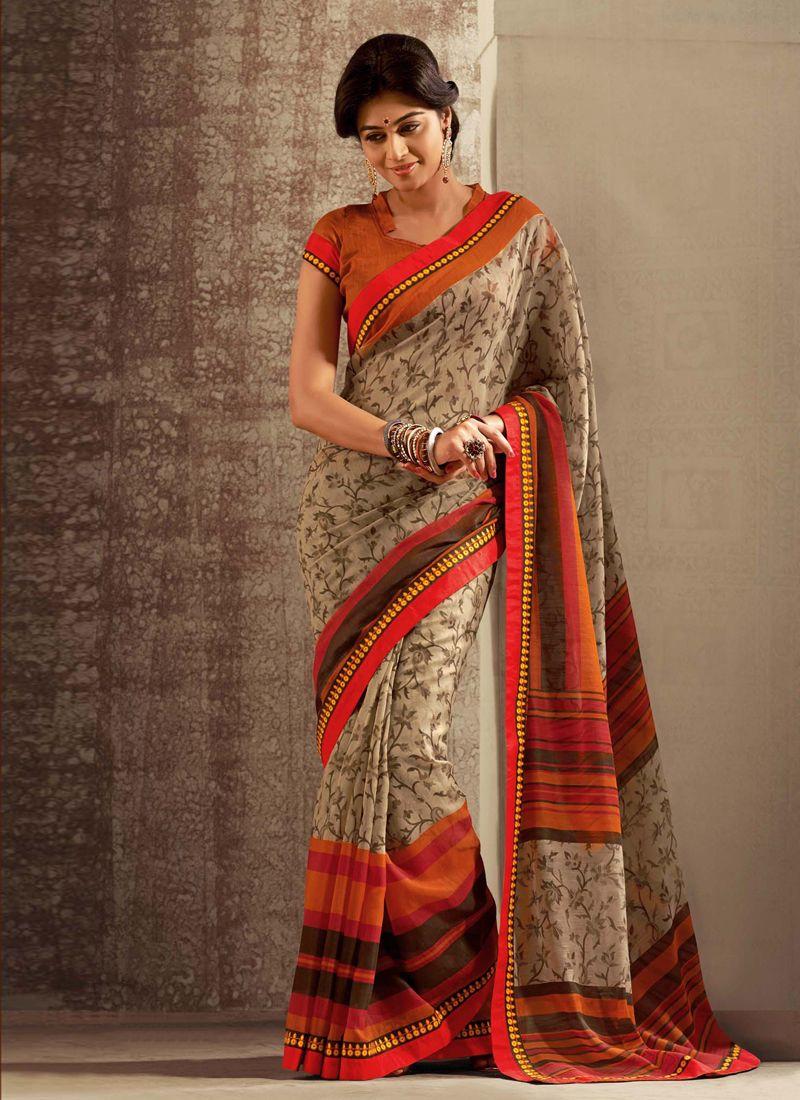 Brown And Orange Cotton Silk Saree