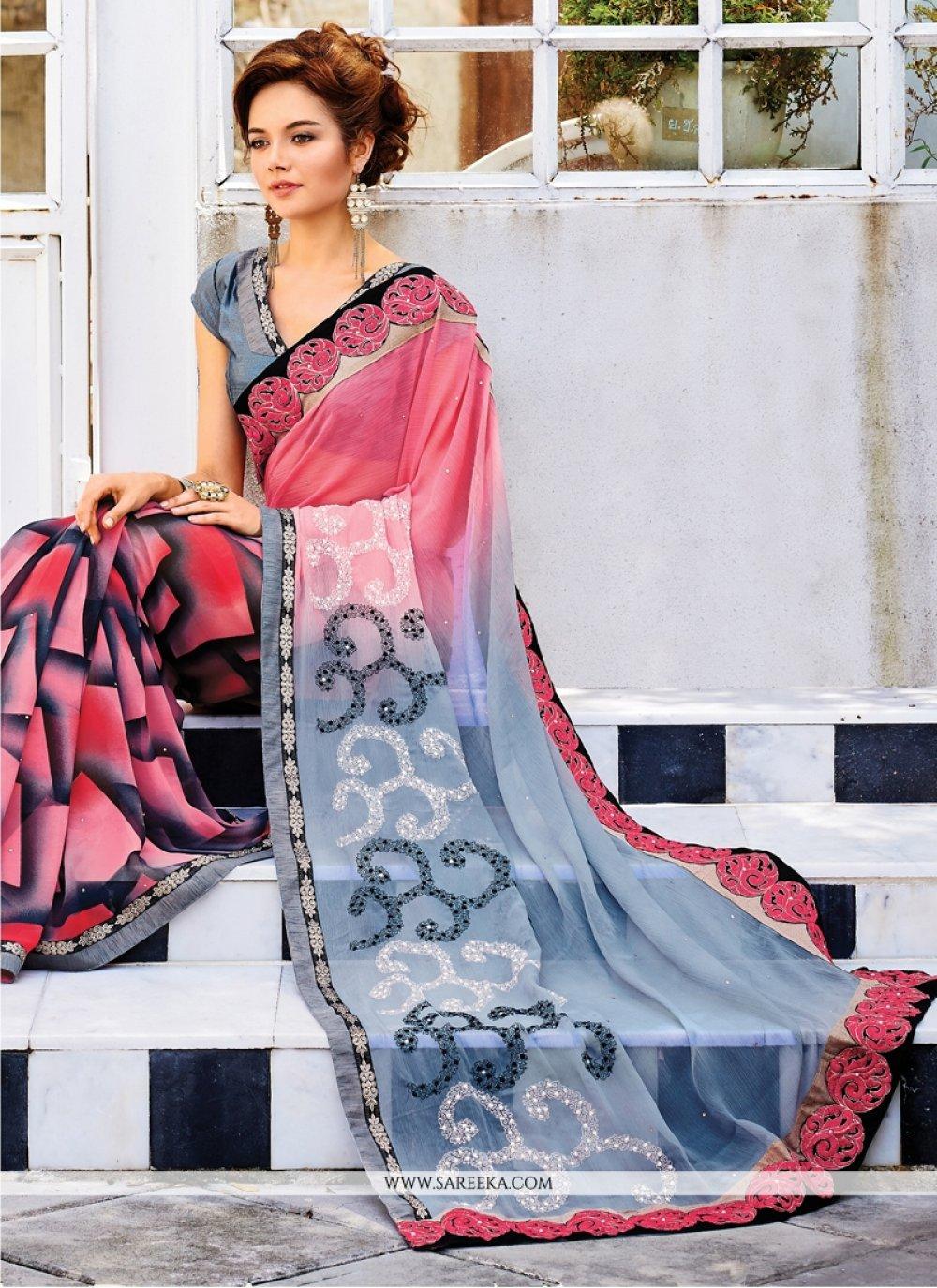 Georgette Hot Pink and Grey Embroidered Work Designer Saree
