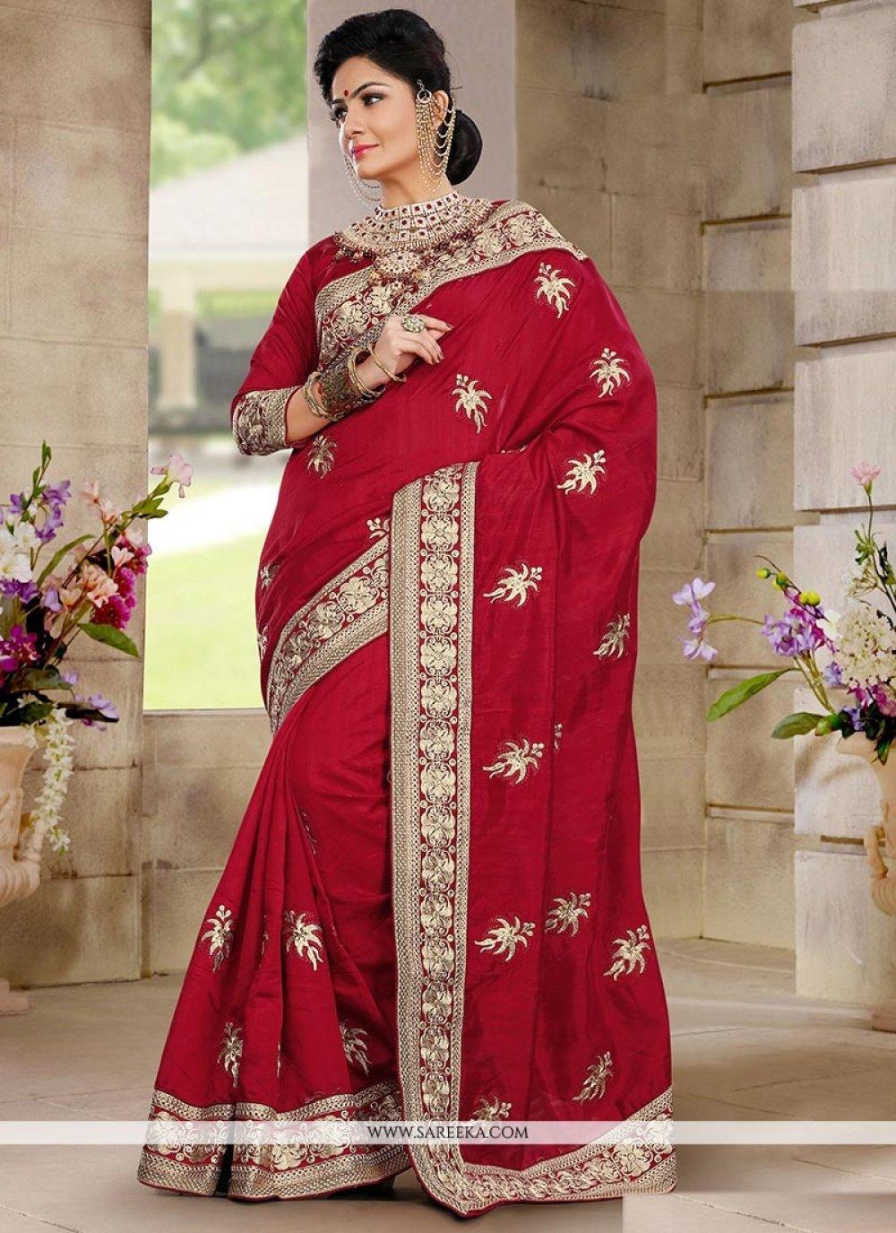 Red Bhagalpuri Silk Wedding Saree