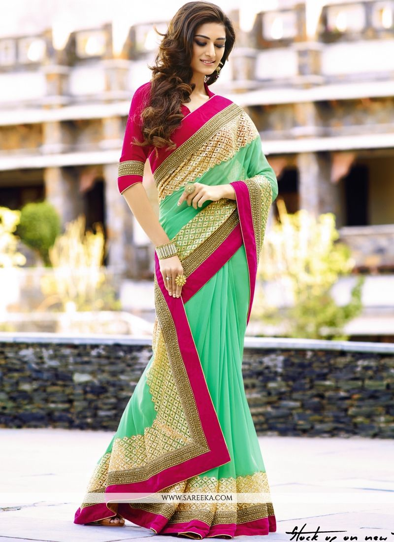 Viscose Sea Green Classic Saree