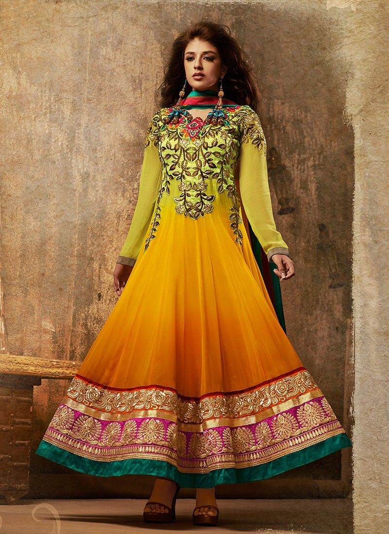 Yellow Embroidered Stylish Anarkali Suit