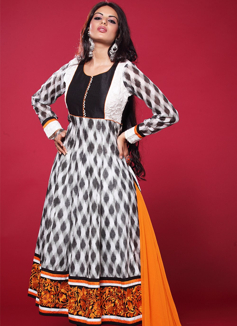 Black And White Resham Border Work Anarkali Suit