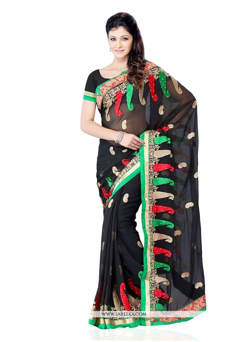 Black Embroidered Work Georgette Designer Saree