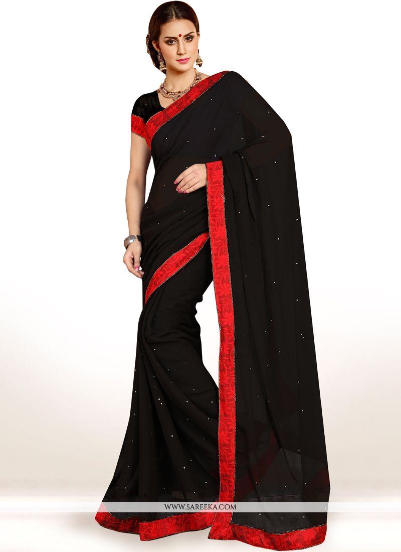Black Lace Work Casual Saree