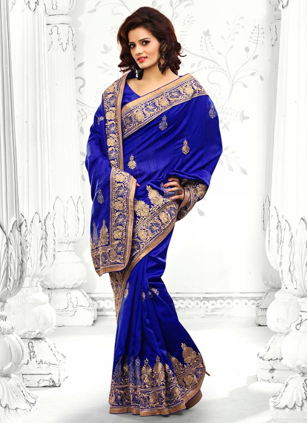 Blue Bhagalpuri Silk Saree
