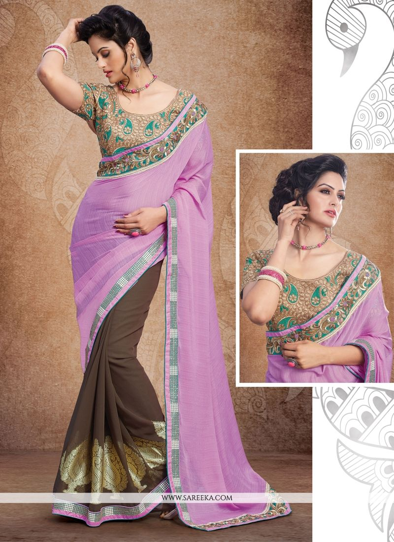Brown Zari Work Brasso Designer Saree